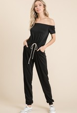 Solid off shoulder jumpsuit