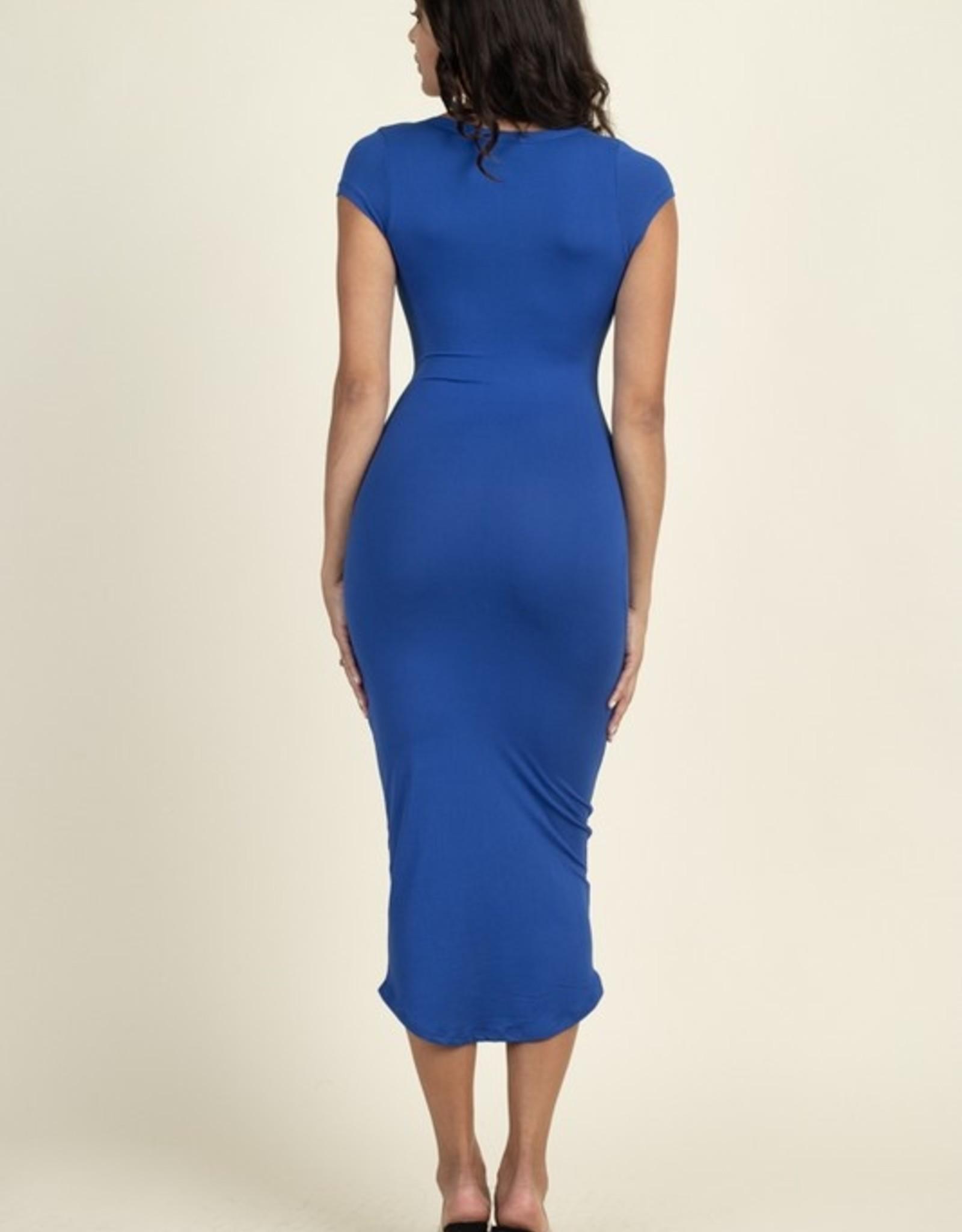 Split neck cap sleeve dress