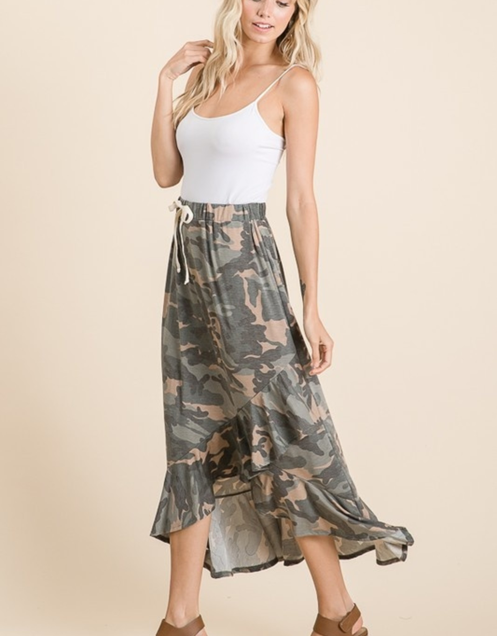 Ruffled camo skirt