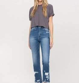 High waisted distressed bottom jean