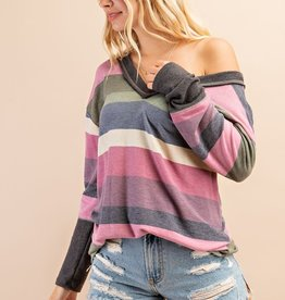 Stripe ruched back top