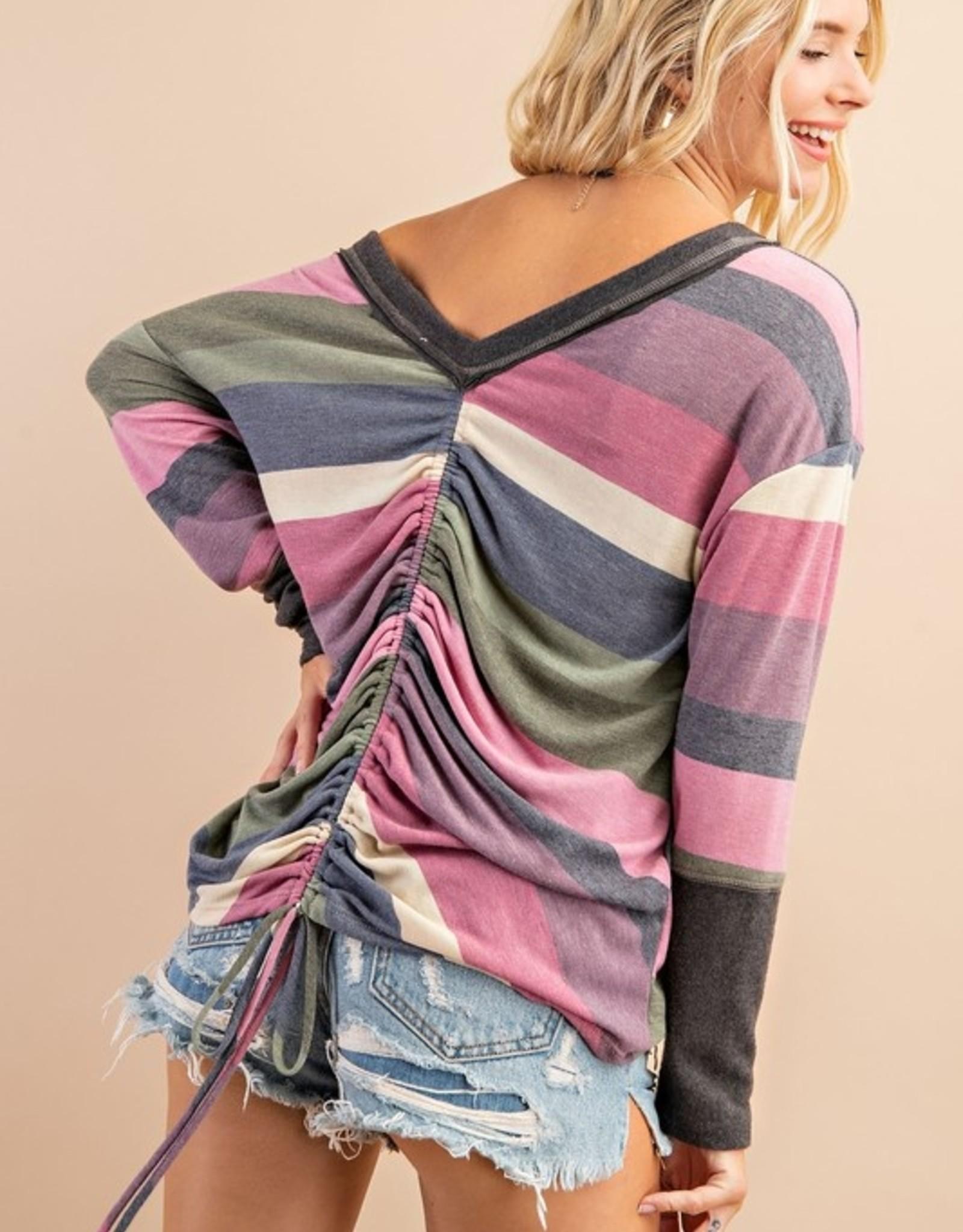 Stripe ruched back top