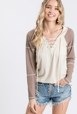 Two tone lace up top