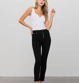 Exposed button black jean
