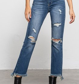High rise side fray jean