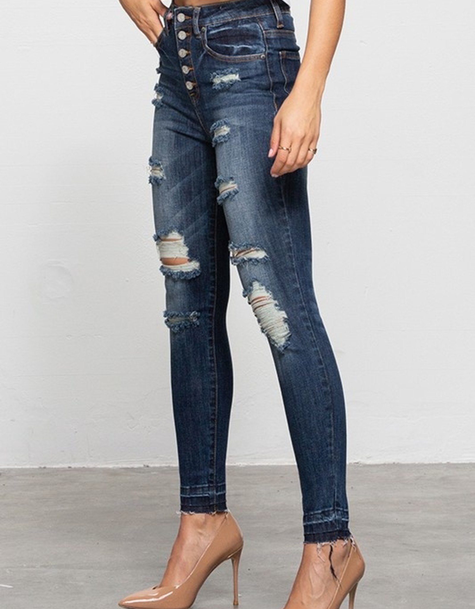 Button up exposed hem jean