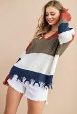 Frayed hem stripe sweater