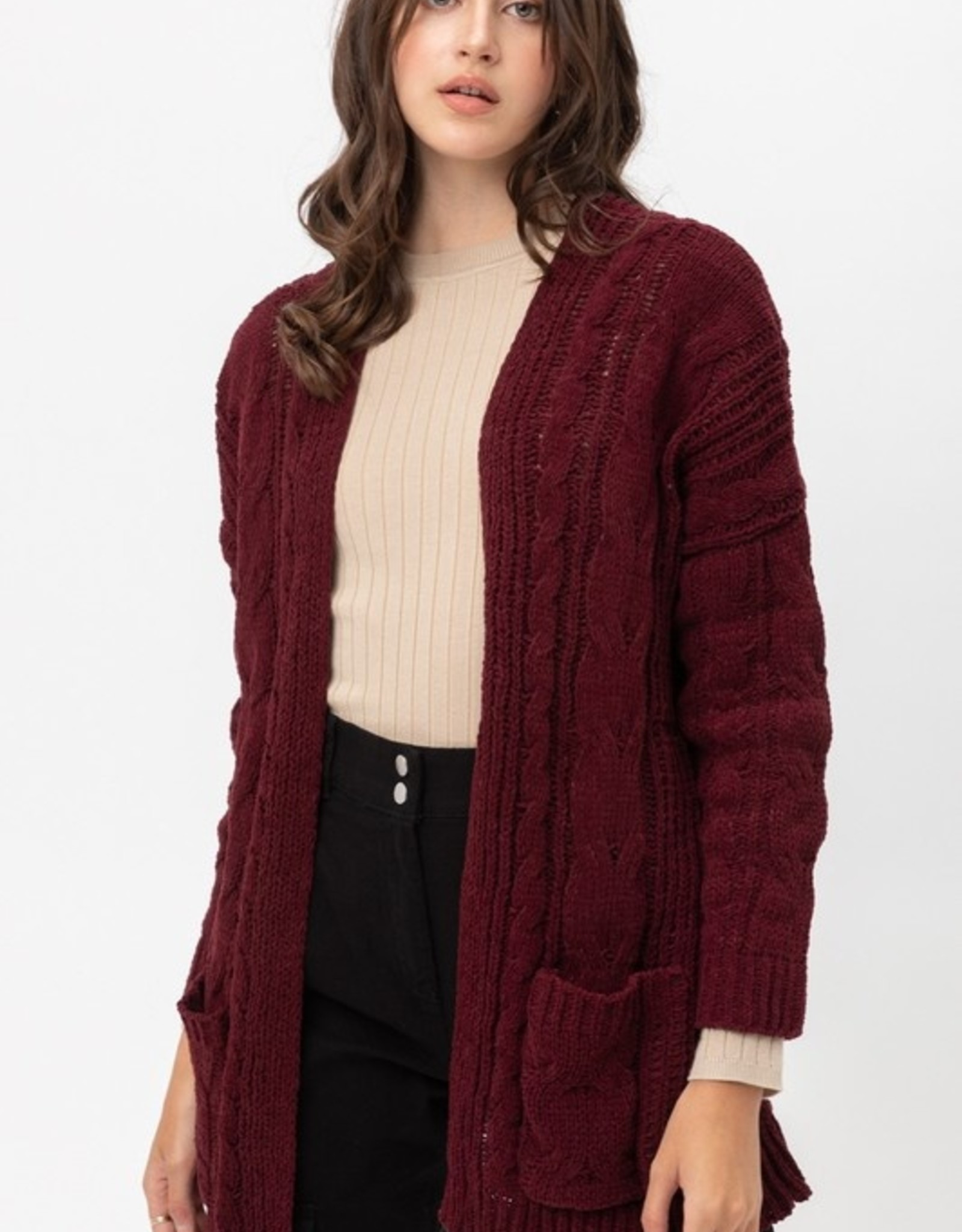 Cable knit open cardigan