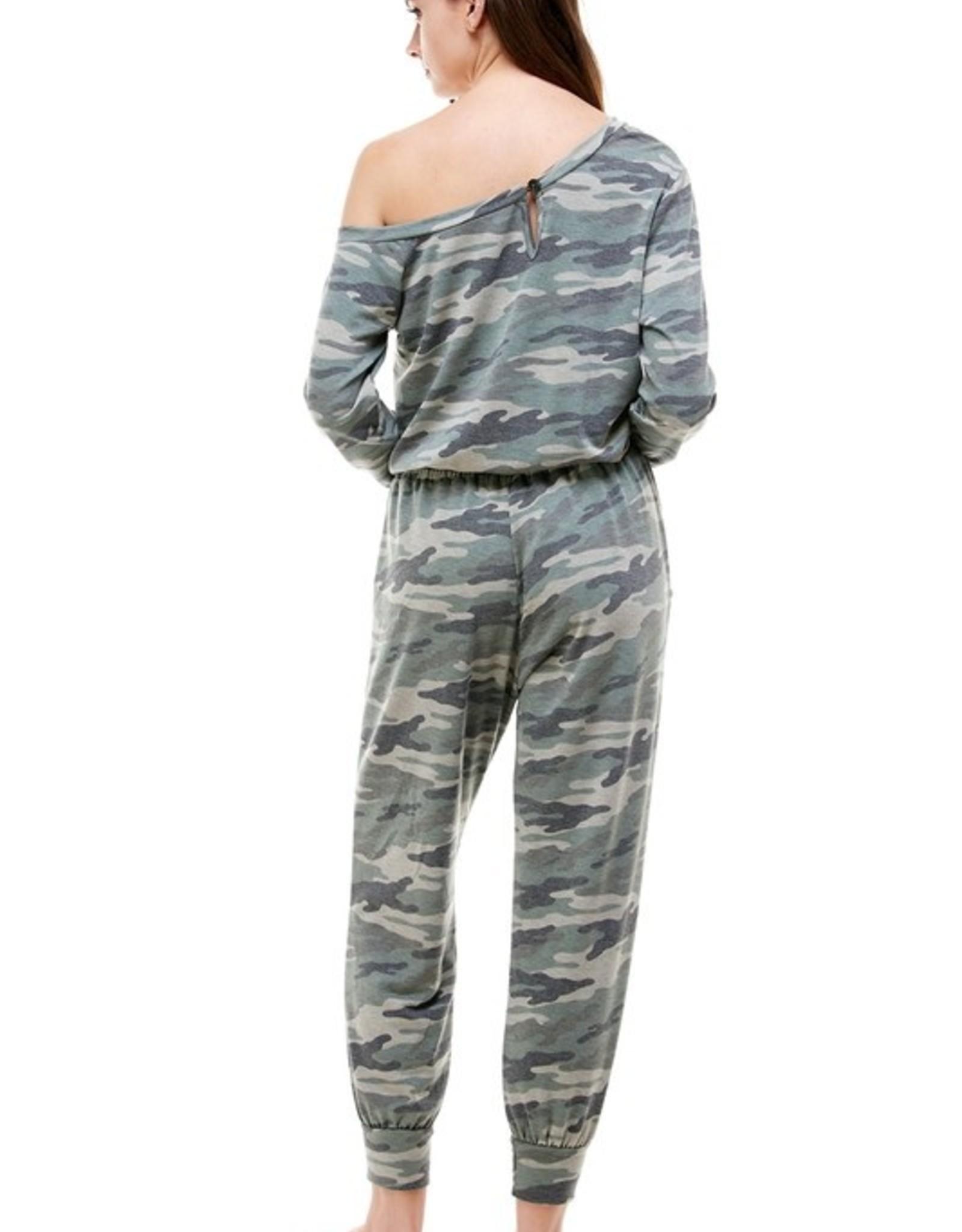 Camo off shoulder jumpsuit