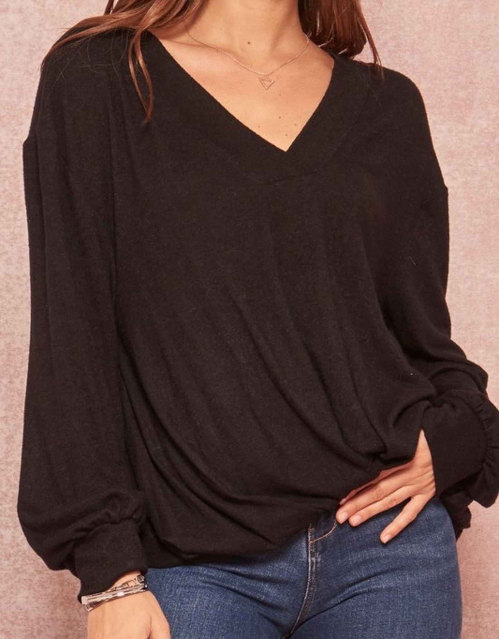 Brushed twist front top