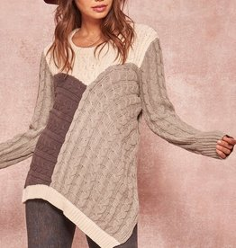 Asymmetrical patchwork sweater