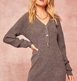 Button front sweater dress