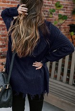Frayed zip sweater