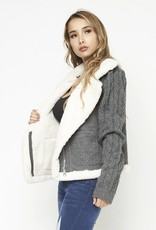 Sherpa trim knit jacket