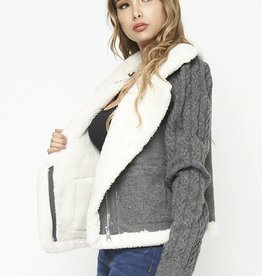 Sherpa trim knit kacket