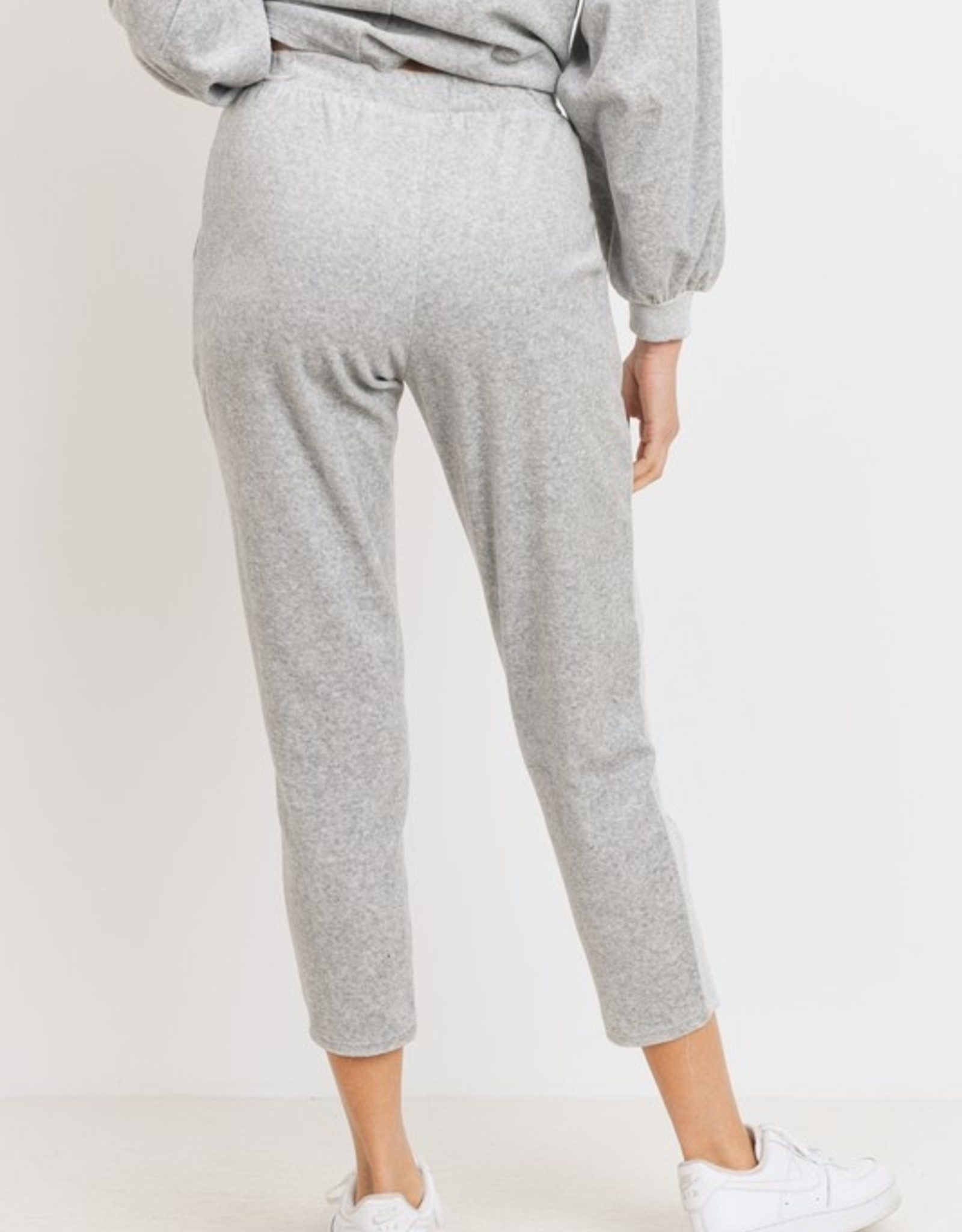 Velour side stripe jogger
