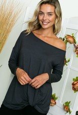 Off shoulder twist hem top