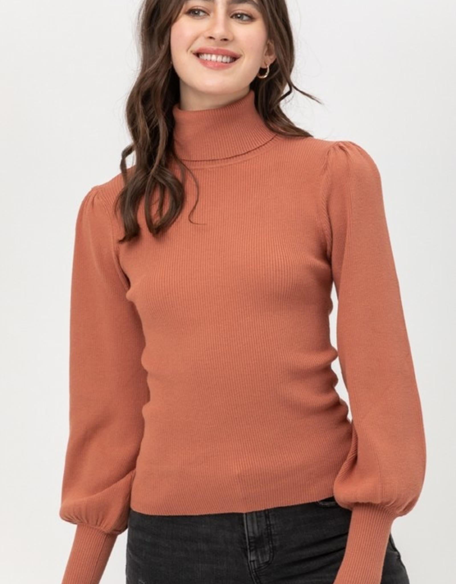 Ribbed puff sleeve sweater