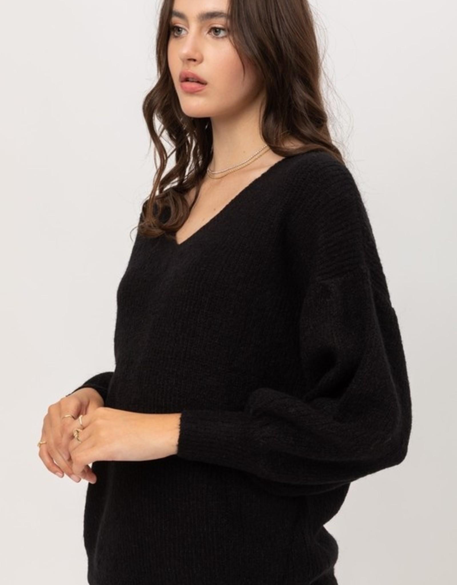 V neck ribbed sweater