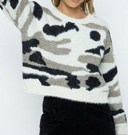 Camo fuzzy sweater