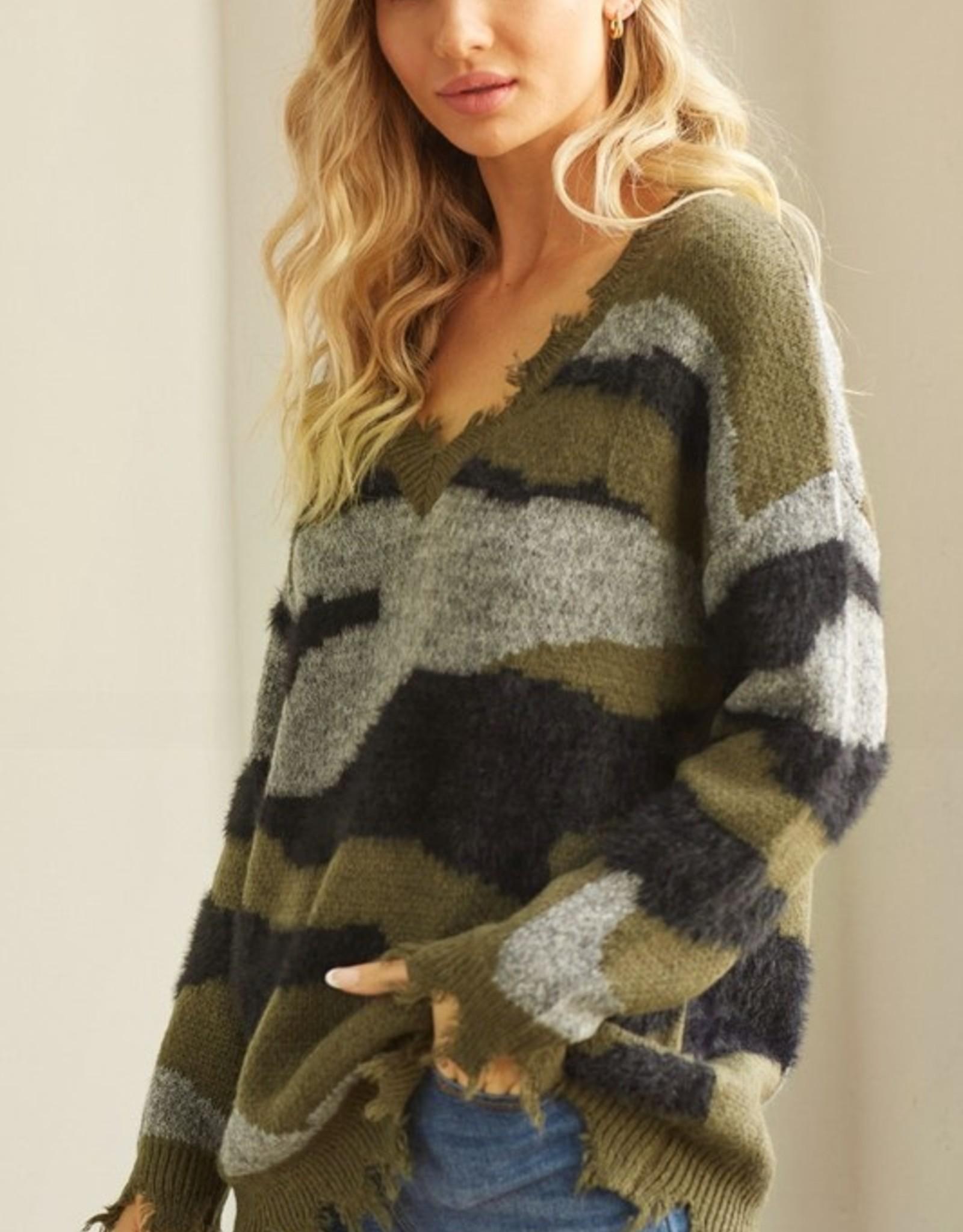 Distressed camo sweater