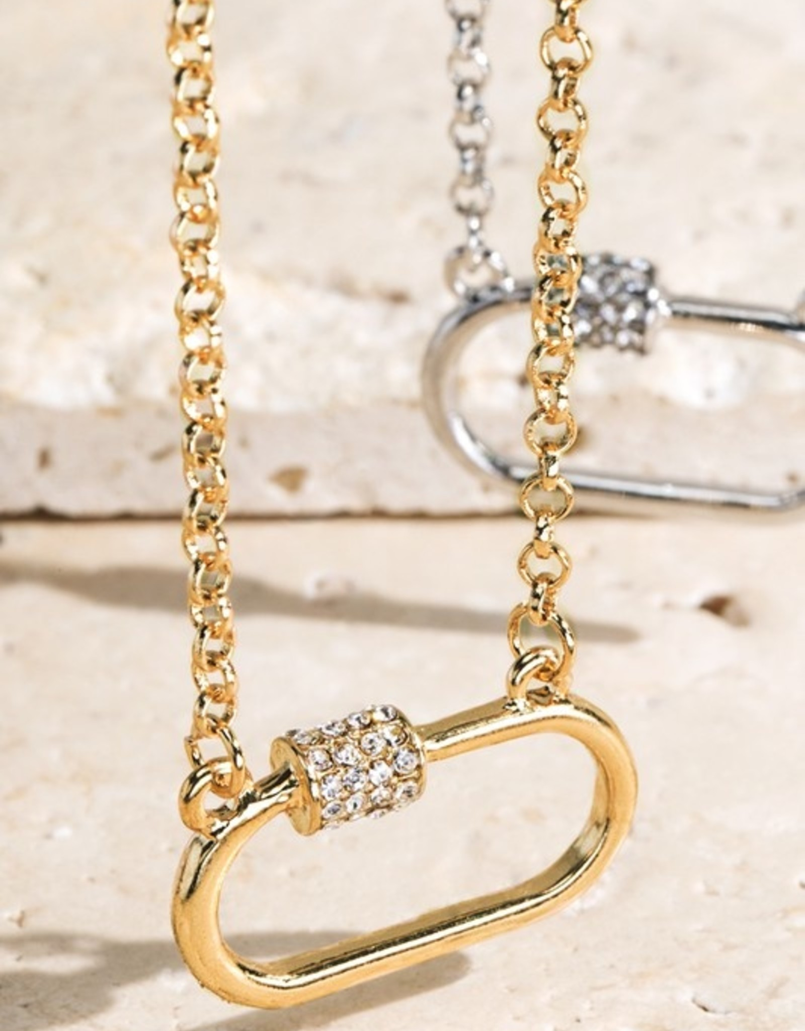 Pave screw necklace