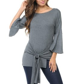 Bell sleeve wrap tie top