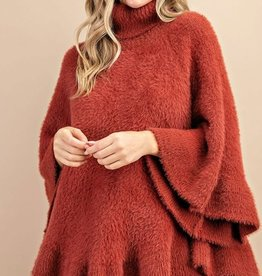 Furry poncho sweater
