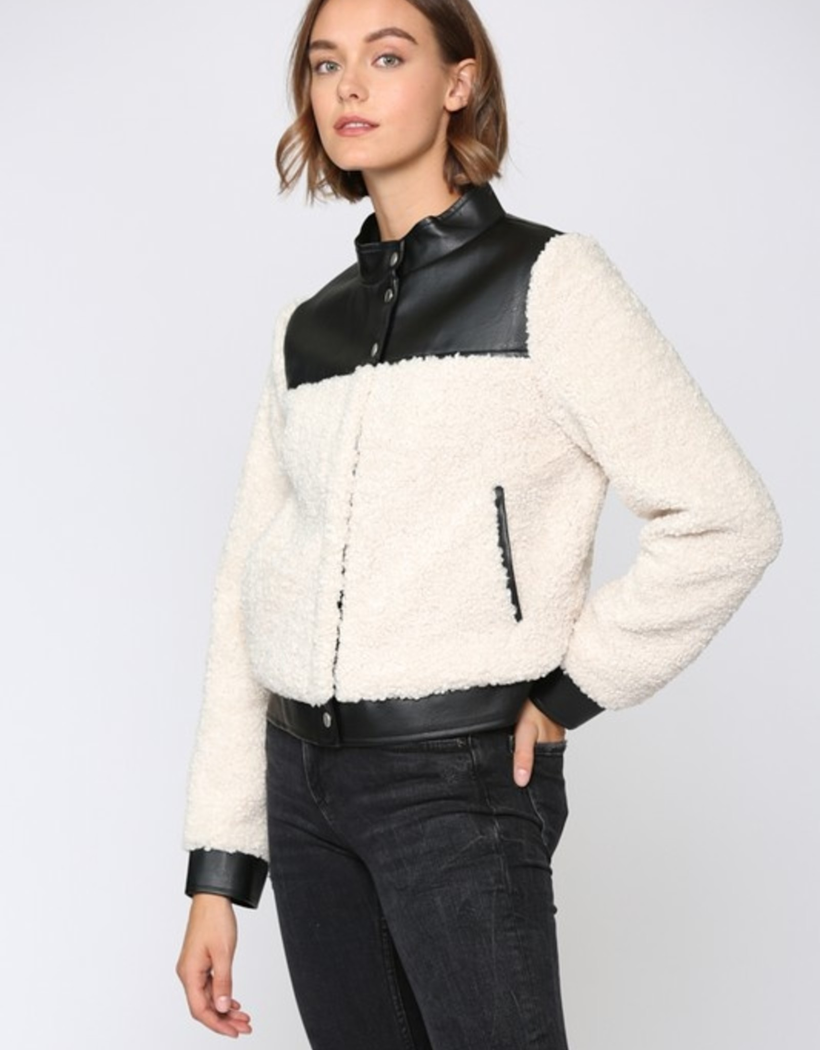 Sherpa jacket with leather detail