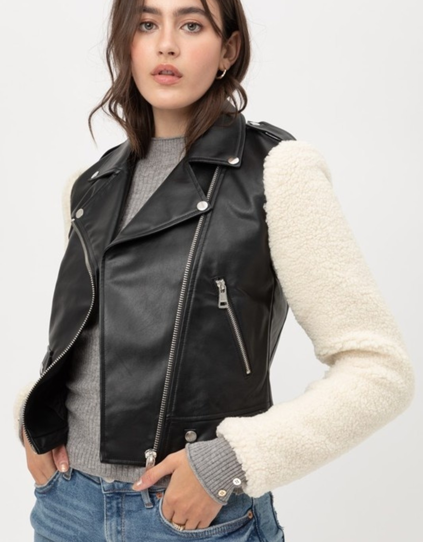 Sherpa sleeve moto jacket