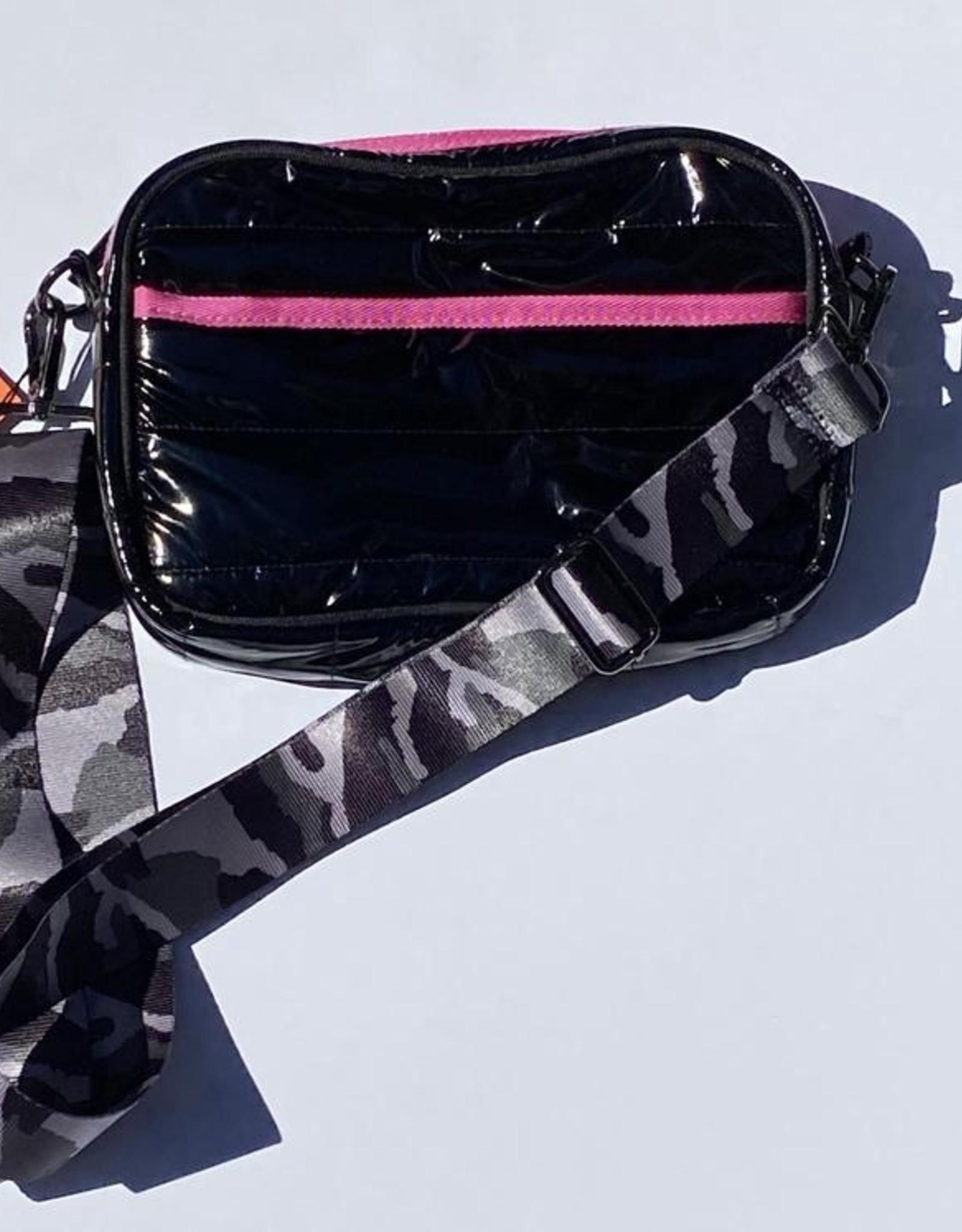 Drew noir2 pink stripe patent bag