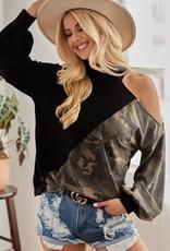 Open shoulder camo sweater