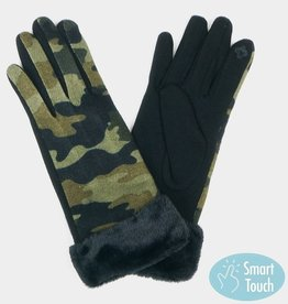 camo fur cuff gloves