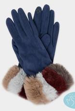 Fur cuff suede gloves