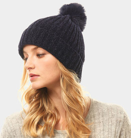 Chenille pompom hat