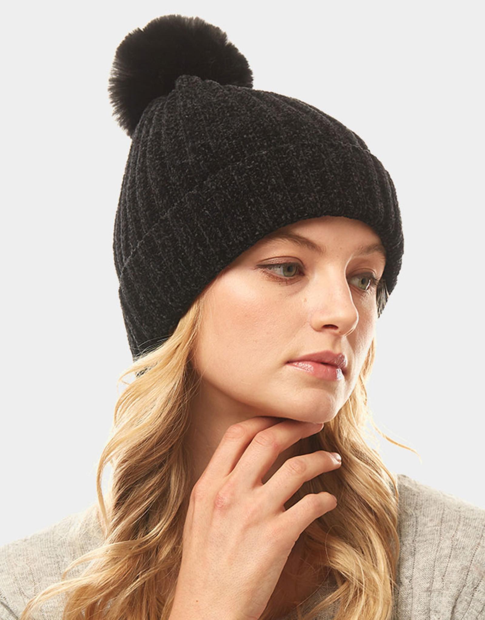 Chenille pompom hat