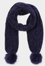 Chenille pompon scarf