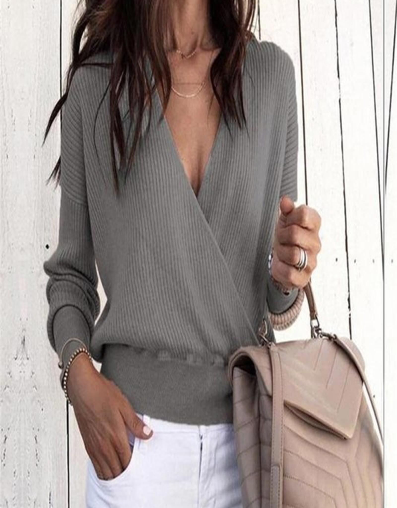 Ribbed crossfront sweater
