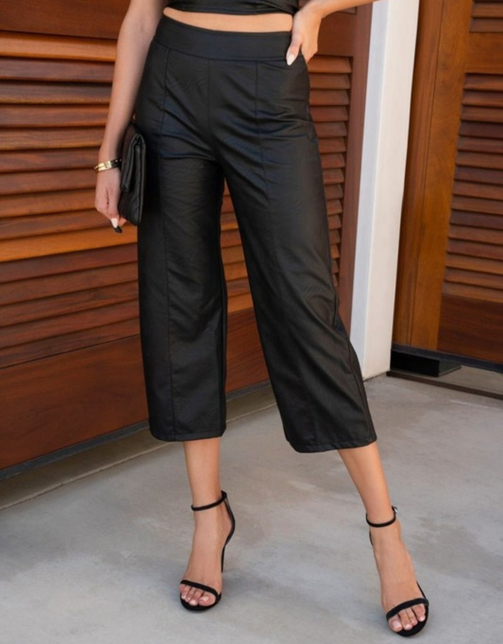 Crop wide leg leather pant
