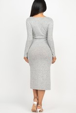 Long sleeve wrap knit dress