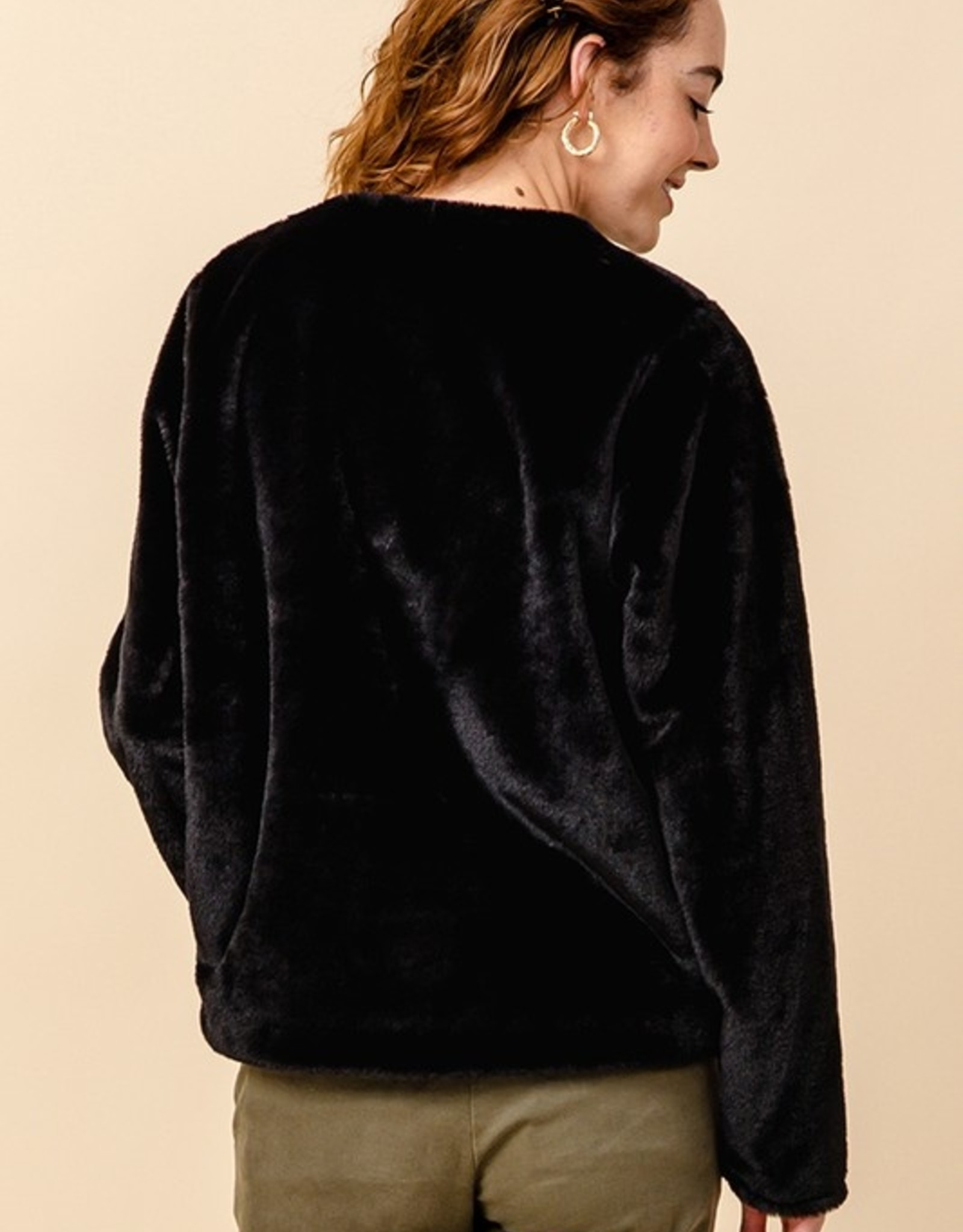 Crew neck faux fur jacket