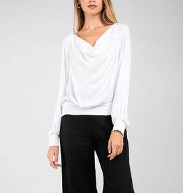 Cowl neck sateen blouse
