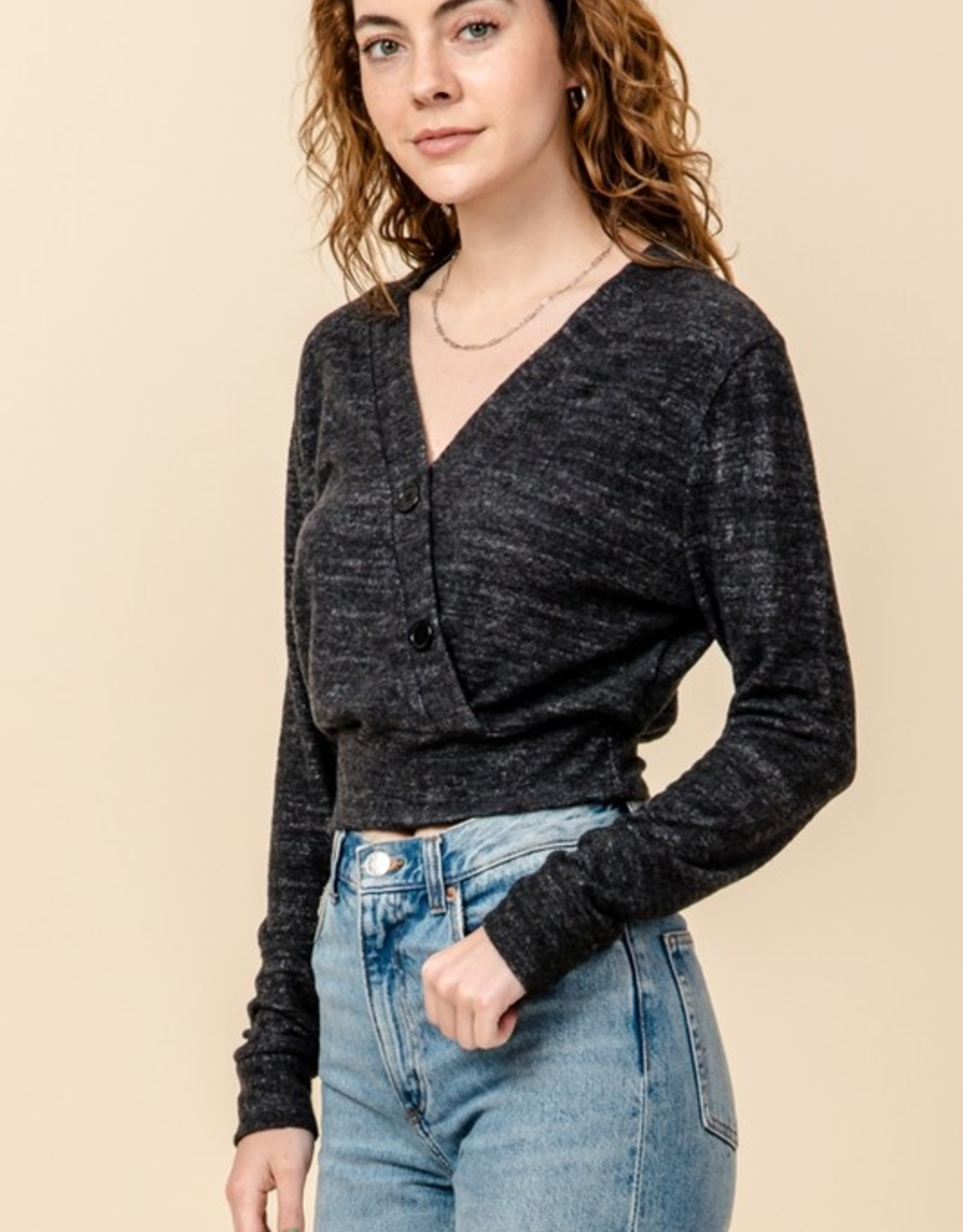 Button detail knit top
