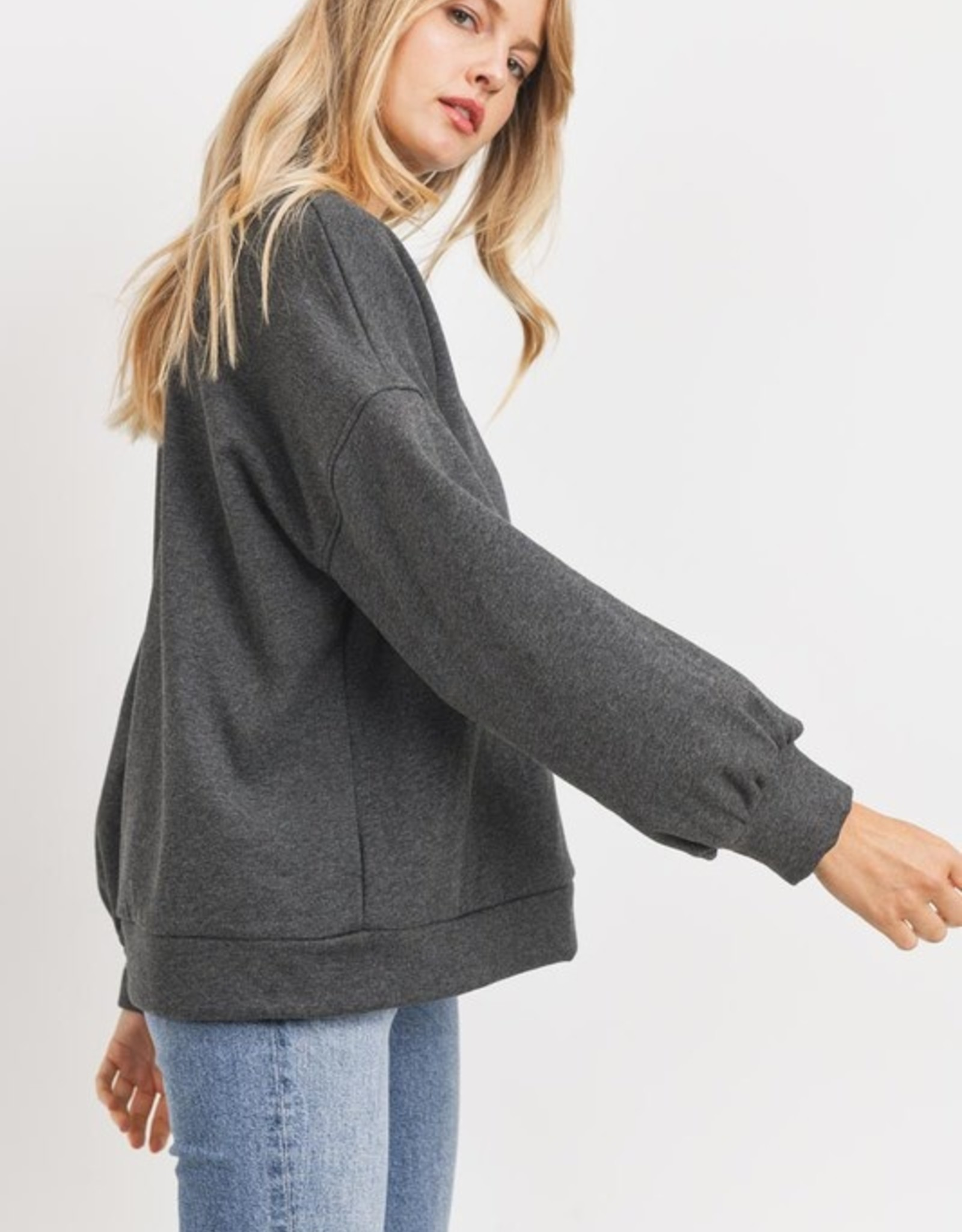 Puff sleeve sweat top