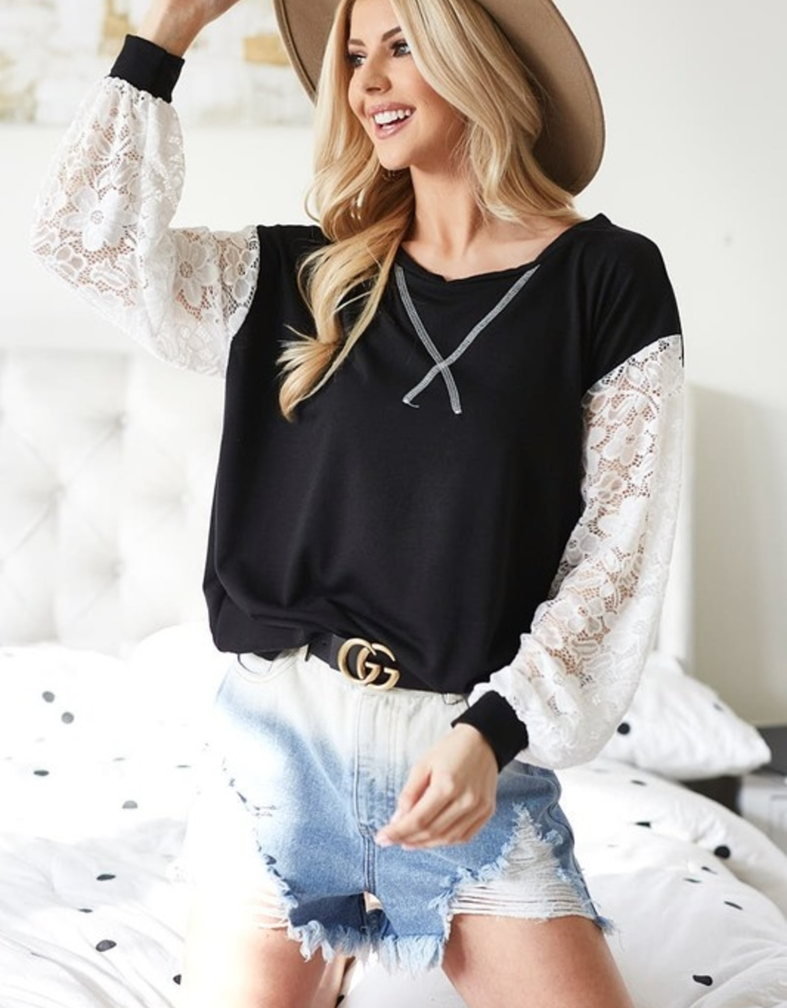 Lace sleeve sweattop