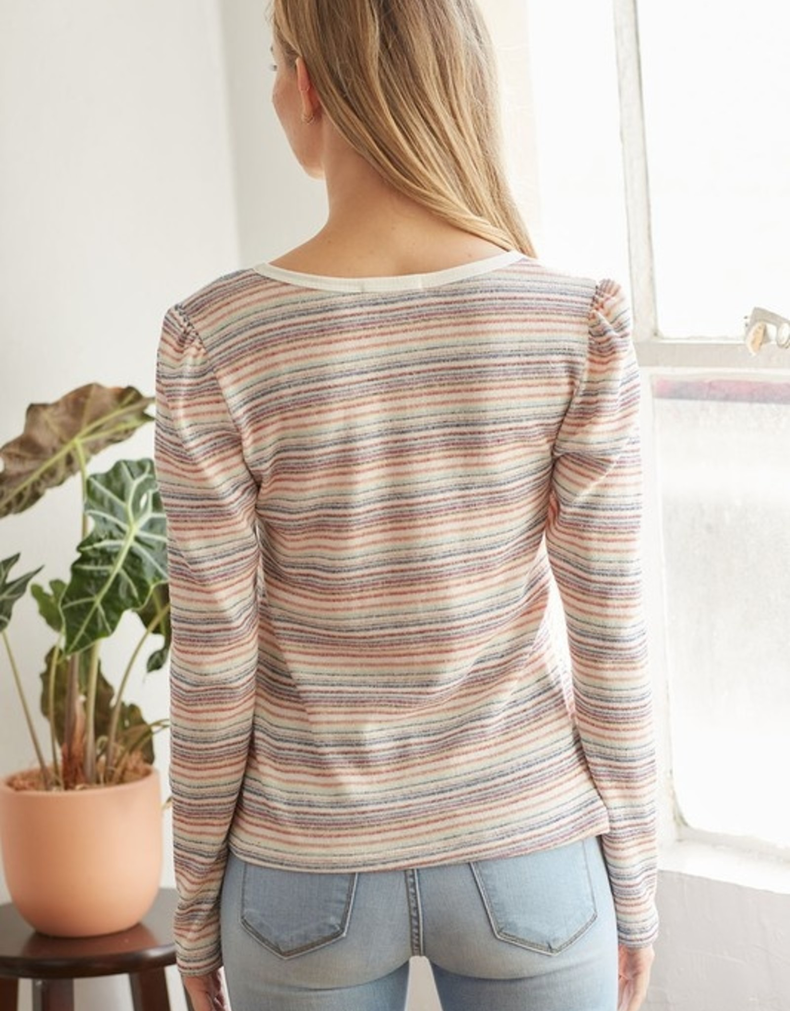 Multi stripe V neck