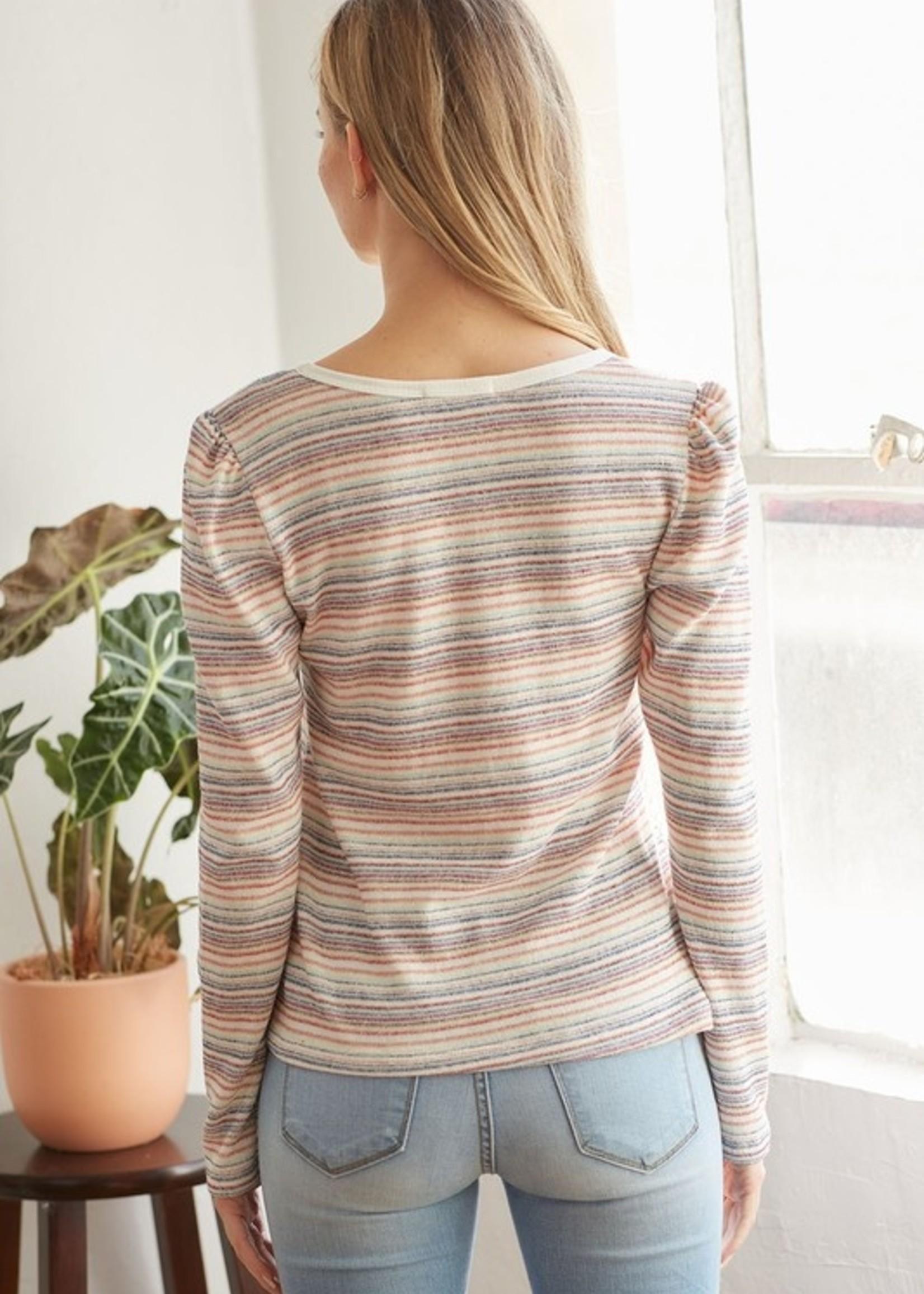 Multi stripe V neck