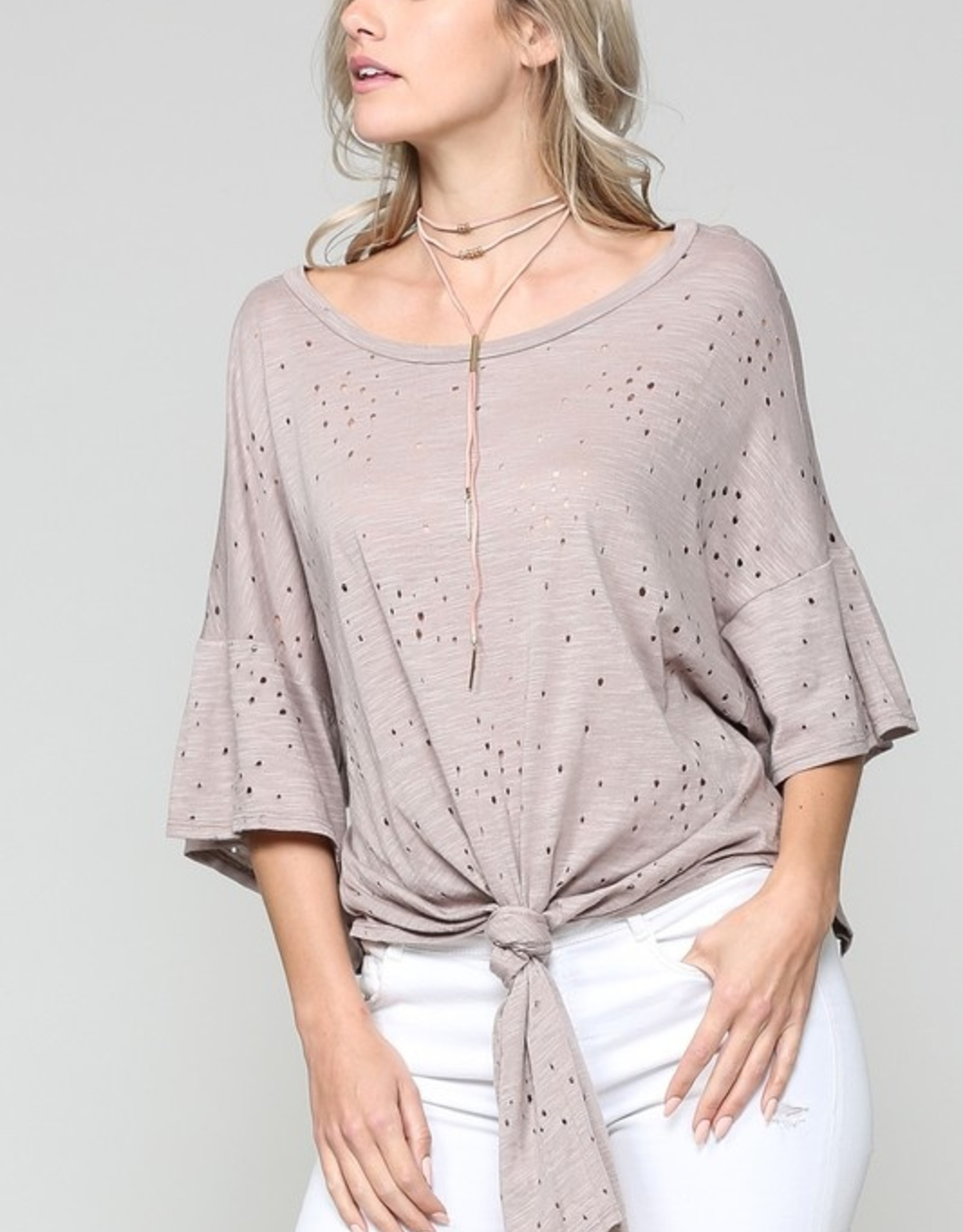 Flare sleeve distressed tie front