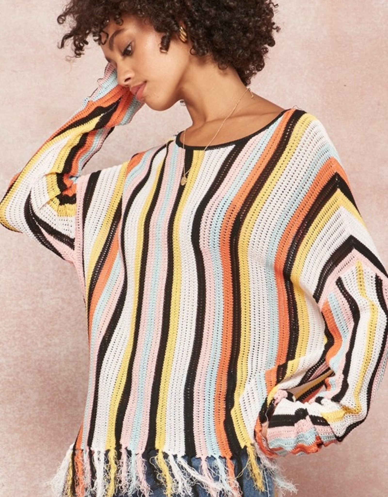 Multi stripe fringe sweater