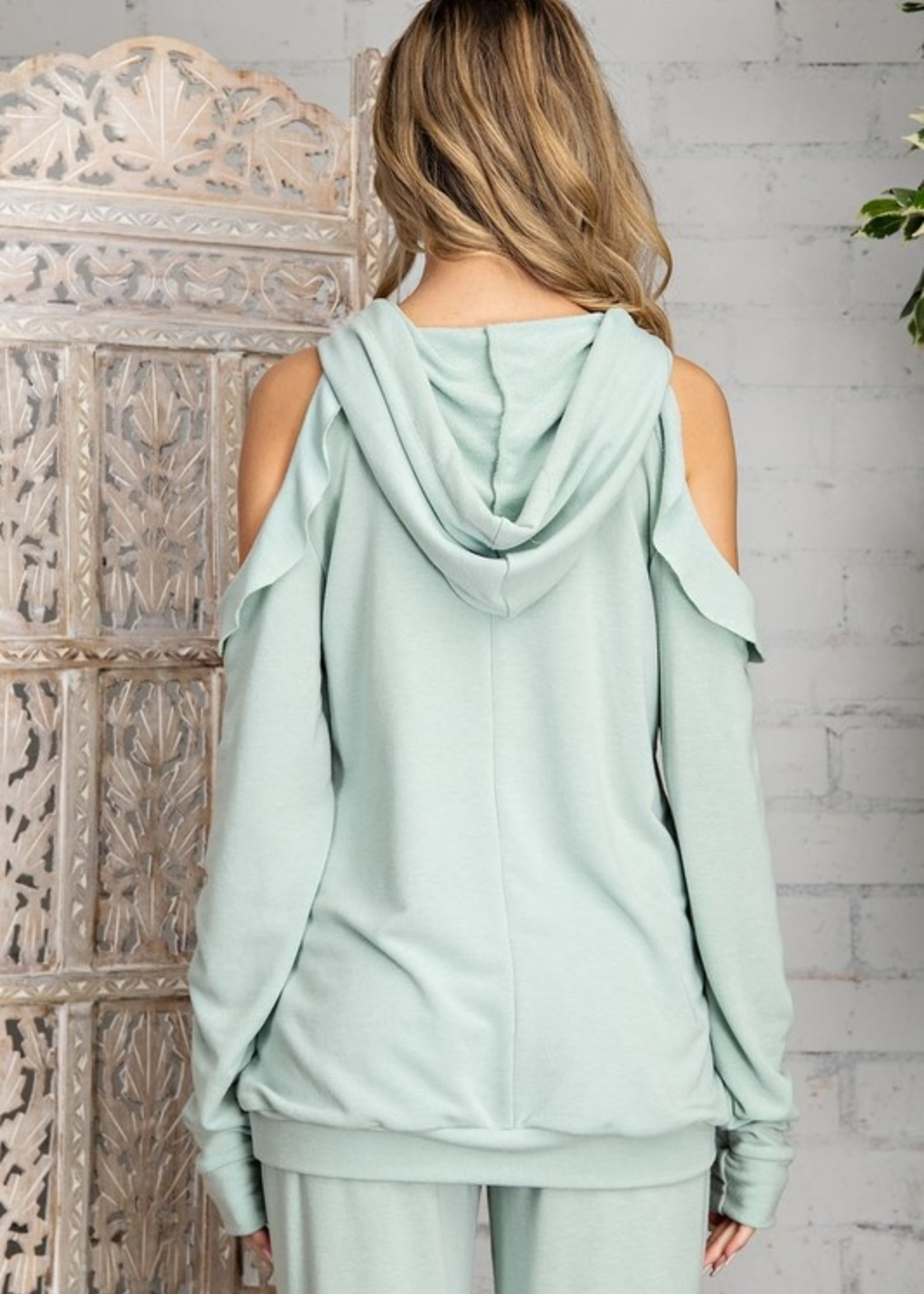 Ruffled cold shoulder top